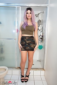 Bailey is hot in a camo skirt ready to fight for your freedom to fuck and get fucked