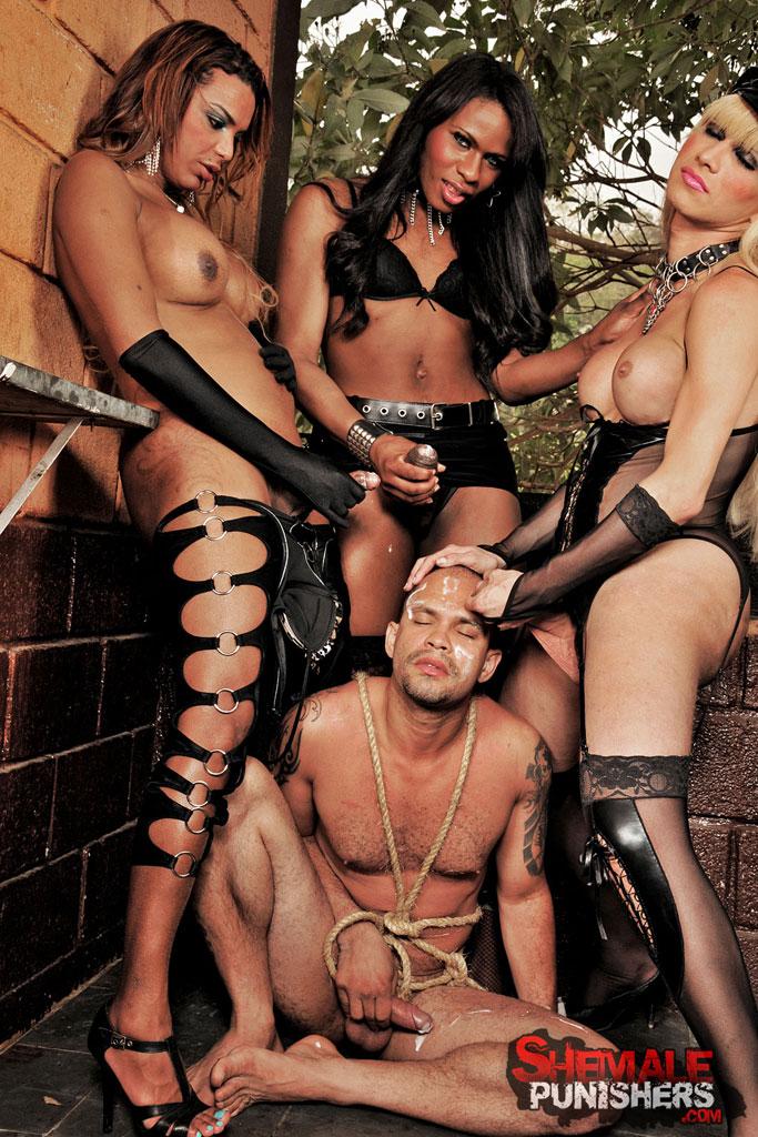 Porn clip gang banged by trannys
