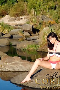 Sassy Shemale Mariana Cordoba Jerking Off her Monstruous SheCock Outdoors