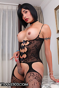 Hot Big Ass Latina In Black Lingerie