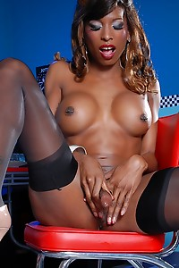 Natassia takes out and serves her hard thick cock at the diner