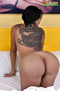 Busty Brunette Agatha Melo Shows Her Long Dick