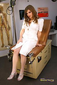 Amazing TS nurse Tiffany toying her wet asshole