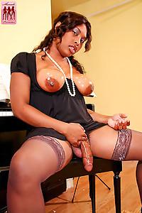 Big titty black tranny Katie Coxxx gets wet for the Shemale Pornstarcamera