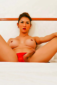 Hot Sapphire Young in a red bikini