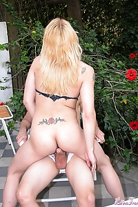 Hot tgirl Agustinita getting picked up and made to suck and fuck a horny cock