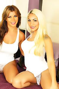 Sexy Big titty tranny Naomi Chi with Angeles Cid