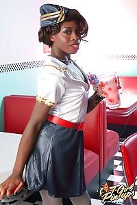 Hot ebony Bambie showing her hot body