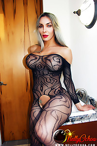 Nelly Ochoa in a bodystocking