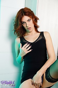 Monica Conti in a hot black dress and sexy black undies ready for some hot fucking