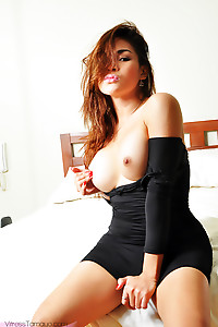 Busty Asian Shemale spreading her Ass and showing off her Penis