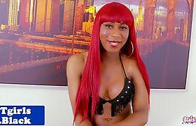 Black redhead tgirl goddess solo toying ass
