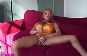Sexy TS Mia Isabella jerking off her enormous dick