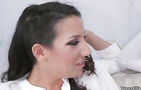 At white party Ts fucks hot brunette