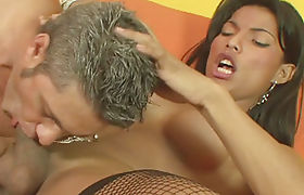 Busty latin ts Valquiria Lewinski sucked off and doggystyled