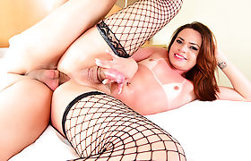 Petite latina trans babe throats and barebacked by big cock