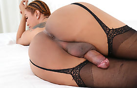 Asian Transsexual Milk A Plays With Herself