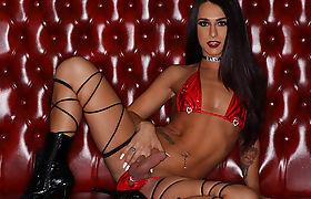 Hot Petite TGirl Khloe Kay gets bang by 4 big cocks