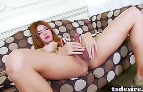 Asian Trans Babe Toey Does It Solo