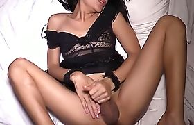 Thai ladyboy with perfect legs and tits gets fucked