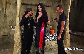 Wild halloween tranny group fuck
