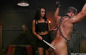 Shemale whips and fuck muscled man sub
