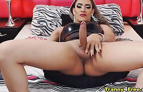 Latina Tranny Big Cock Jacking Off Cam