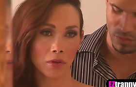 Busty shemale babes wild threesome fuck with lucky dude