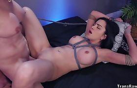 Toned tranny fucks tied up Latina babe