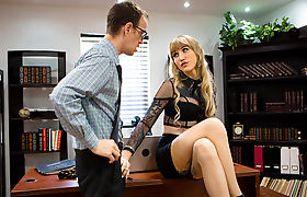 Pale Shemale Lena Kelly enjoys fucking her assistant in the office