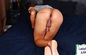 Horny asian ladyboy shows off her butt