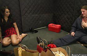 In elevator shemale anal fucks repairman