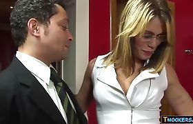Blonde shemale hooker picked up and fucked