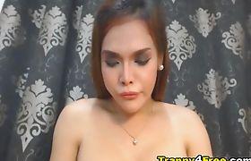 Hot Ladyboy Faps Her Dick Hard