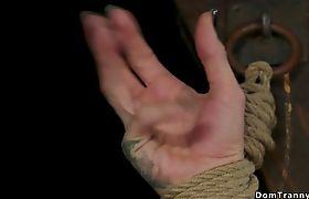 Blindfolded tranny sub anal fucked by master