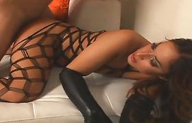 Hot tranny Khloe Hart in body-lingerie anal banged hard