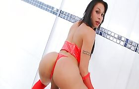 Amazingly hot shemale shows off and masturbates her cock