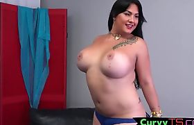 Sexy bbw shemale fiddles with her dick