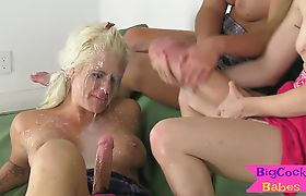 Three tgirl babes whip massive cocks out