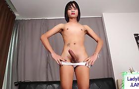 Asian ladyboy with tattoo masturbating