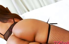 Big boobs shemale Bianca Petrovicky playing with her cock