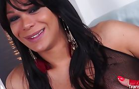 Sexy brunette shemale gets banged by two cocks in raunchy threesome