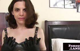 Solo latex tranny toying her ass