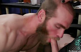 Bearded male anal fucked by tranny boss