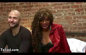 Baldheaded guy sucks dick to tanned huge breasts tranny Yasmin Lee