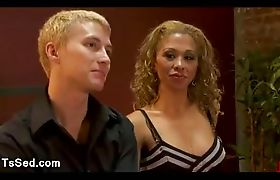 Blonde guy made to suck dick and lick round ass to big breasts tranny