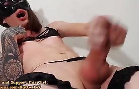 Masked And Stroking Her Hard Tranny Shecock