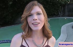 Solo trans babe fingering her asshole