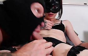 Tranny In Leather Getting Her Dick Eaten By BF