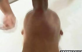 Stud sucks on a trannys cock and gets fucked anally